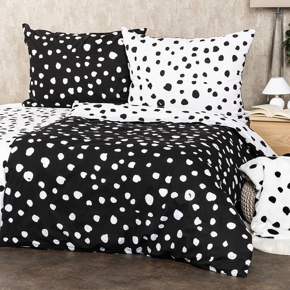 4Home 4Home Bavlnené obliečky Dalmatín čiernobiela, 140 x 220 cm, 70 x 90 cm