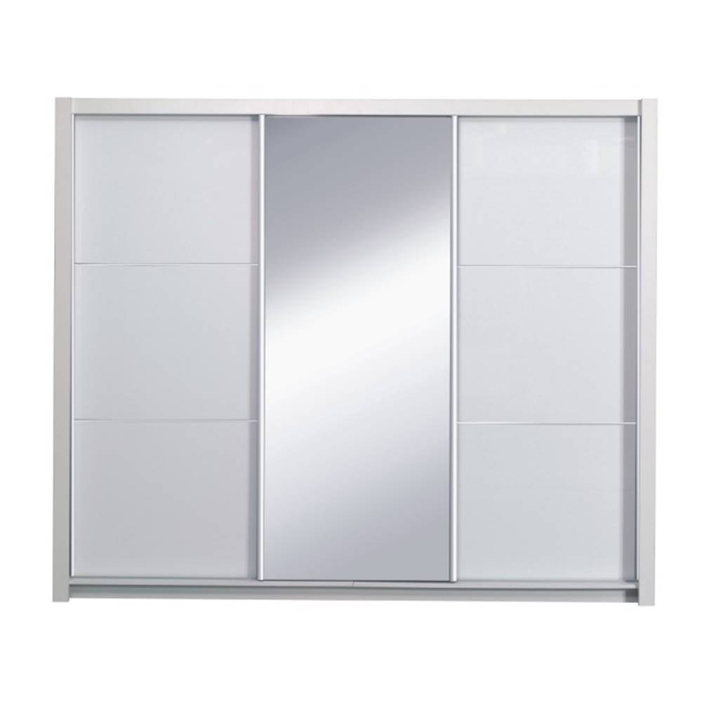 Tempo Kondela Skriňa s posúvacími dverami biela/ vysoký biely lesk 258X213  ASIENA