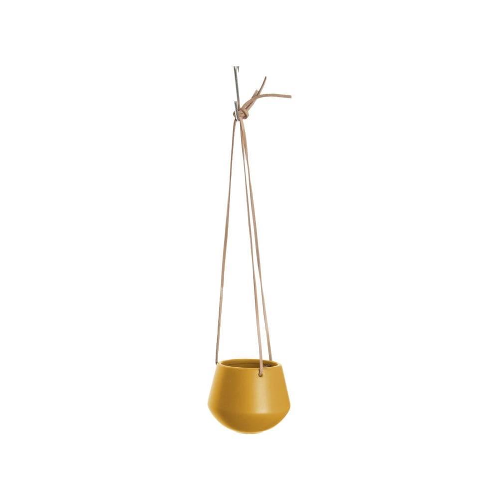 PT LIVING Matne okrovožltý závesný keramický kvetináč PT LIVING Skittle, výška 9,5 cm