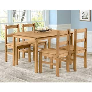 Stôl 100x80 + 4 stoličky CORONA 2 vosk