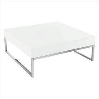 Konferenčný stolík chróm/biela extra vysoký lesk BOTTI poškodený tovar