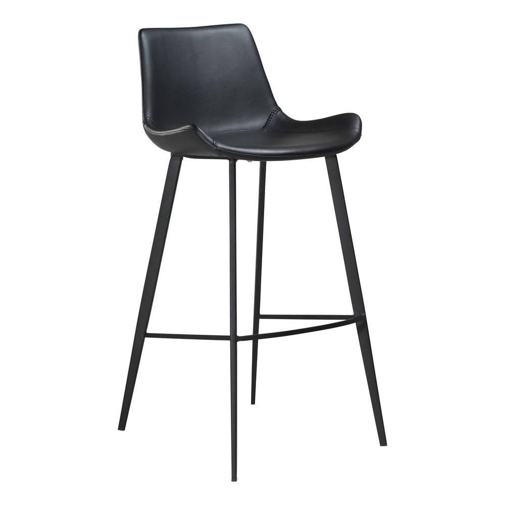 DAN-FORM Denmark Čierna barová stolička z eko kože DAN–FORM Denmark Hype