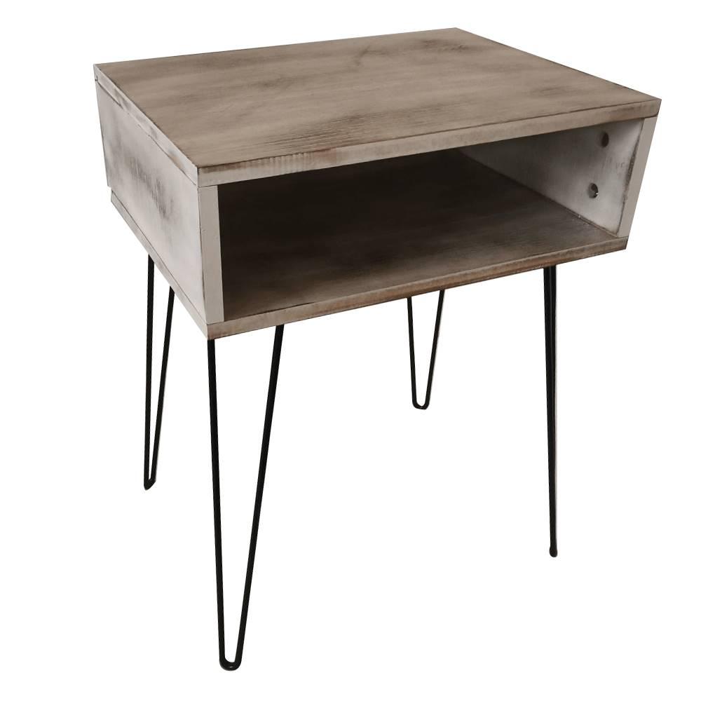 Tempo Kondela Príručný/nočný stolík biela vintage/čierna HONEJ