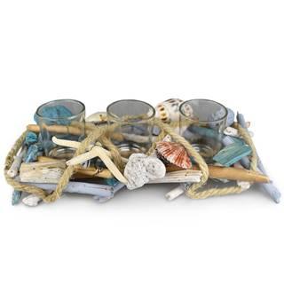 Dommio Ratanový svietnik na 3 čajové sviečky Mare, 30 x 14 cm