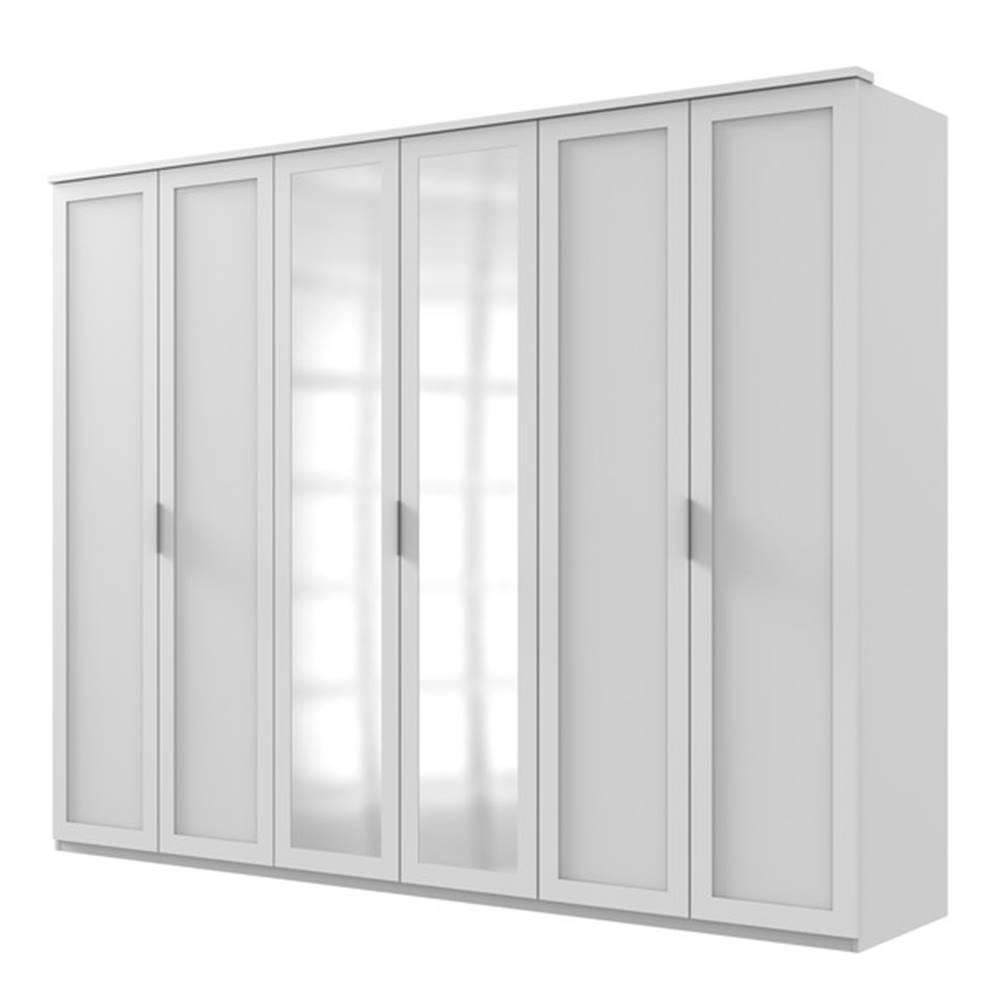 Sconto Šatníková skriňa NATHAN biela, 270 cm, 2 zrkadlá