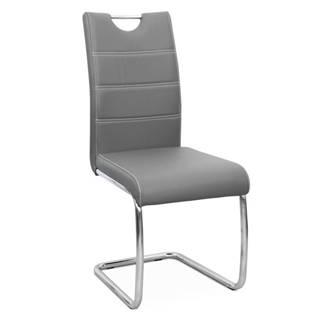 Jedálenská stolička svetlosivá/svetlé šitie ABIRA NEW