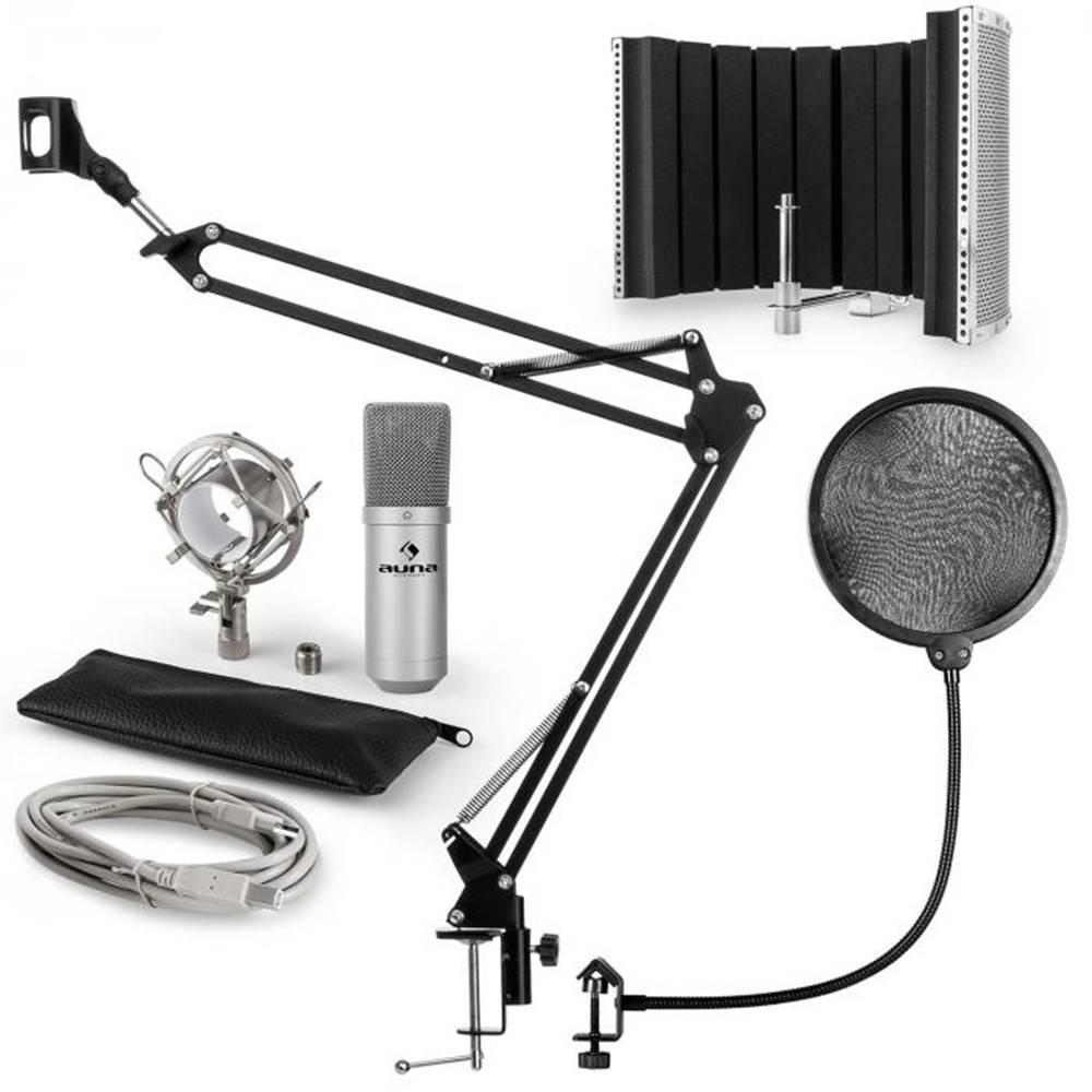 Auna Auna MIC-900S, USB mikrofónová sada V5, strieborná, kondenzátorový mikrofón, pop filter, akustická clona, rameno