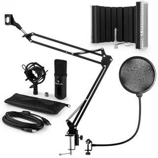 Auna MIC-900B, USB mikrofónová sada V5, čierna, kondenzátorový mikrofón, pop filter, akustická clona, rameno
