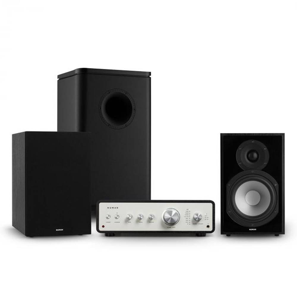 Numan Numan Drive 802, stereo sada, zosilňovač, regálový reproduktor, subwoofer, kryt, čierna