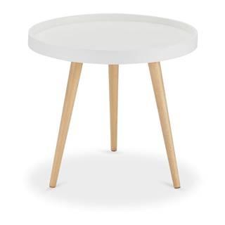 Biely konferenčný stolík s nohami z bukového dreva FurnhoOpus, Ø 50 cm
