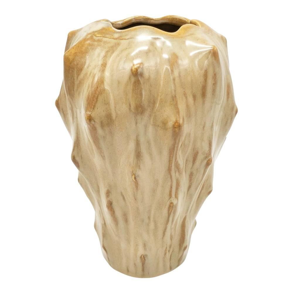 PT LIVING Pieskovohnedá keramická váza PT LIVING Flora, výška 23,5 cm