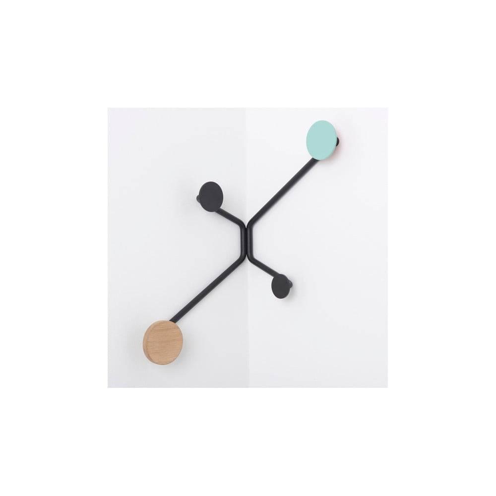 Gazzda Čierny rohový nástenný vešiak s mentolovozeleným detailom Gazzda Hook