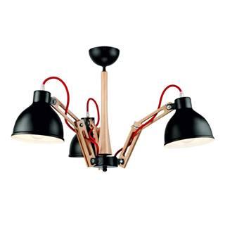 Čierne závesné svietidlo 3 žiarovky Lamkur Marcello