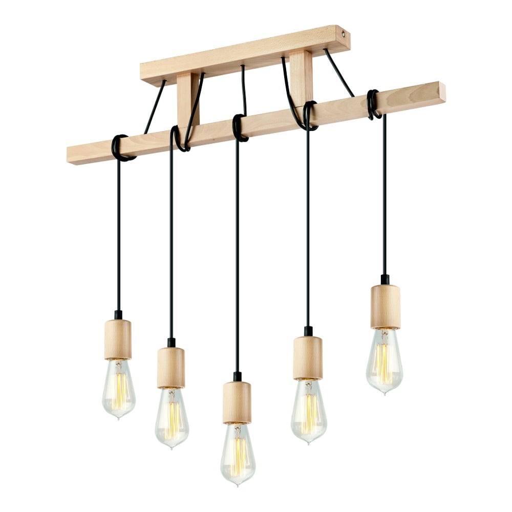 LAMKUR Drevené závesné svietidlo pre 5 žiaroviek Lamkur Leon