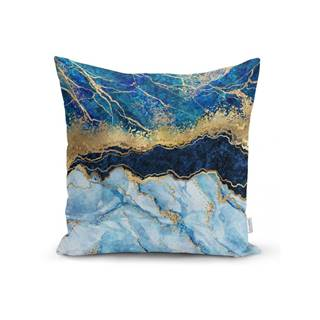 Obliečka na vankúš Minimalist Cushion Covers Marble With Blue, 45 x 45 cm