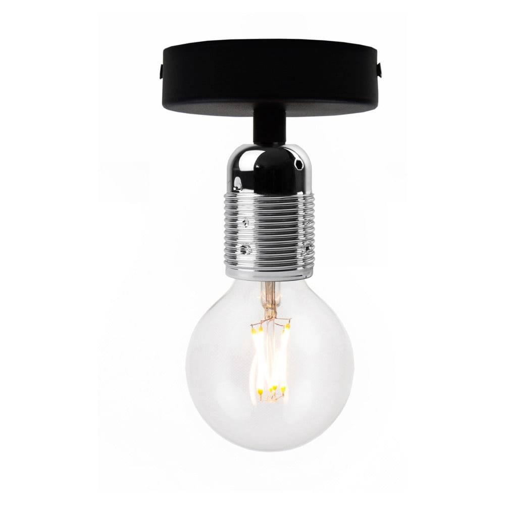 Bulb Attack Čierne stropné svietidlo so striebornou objímkou Bulb Attack Uno Basic