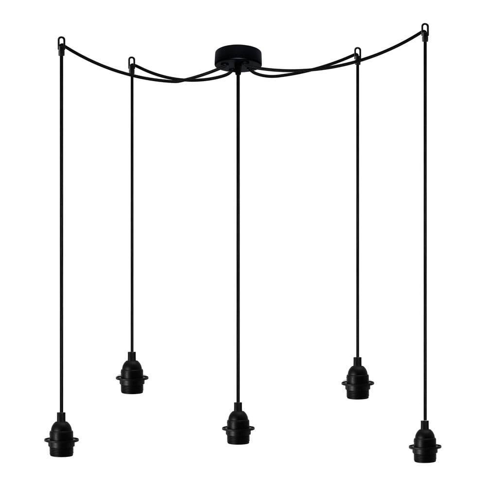 Bulb Attack Čierne závesné svietidlo s 5 káblami Bulb Attack Uno Primary