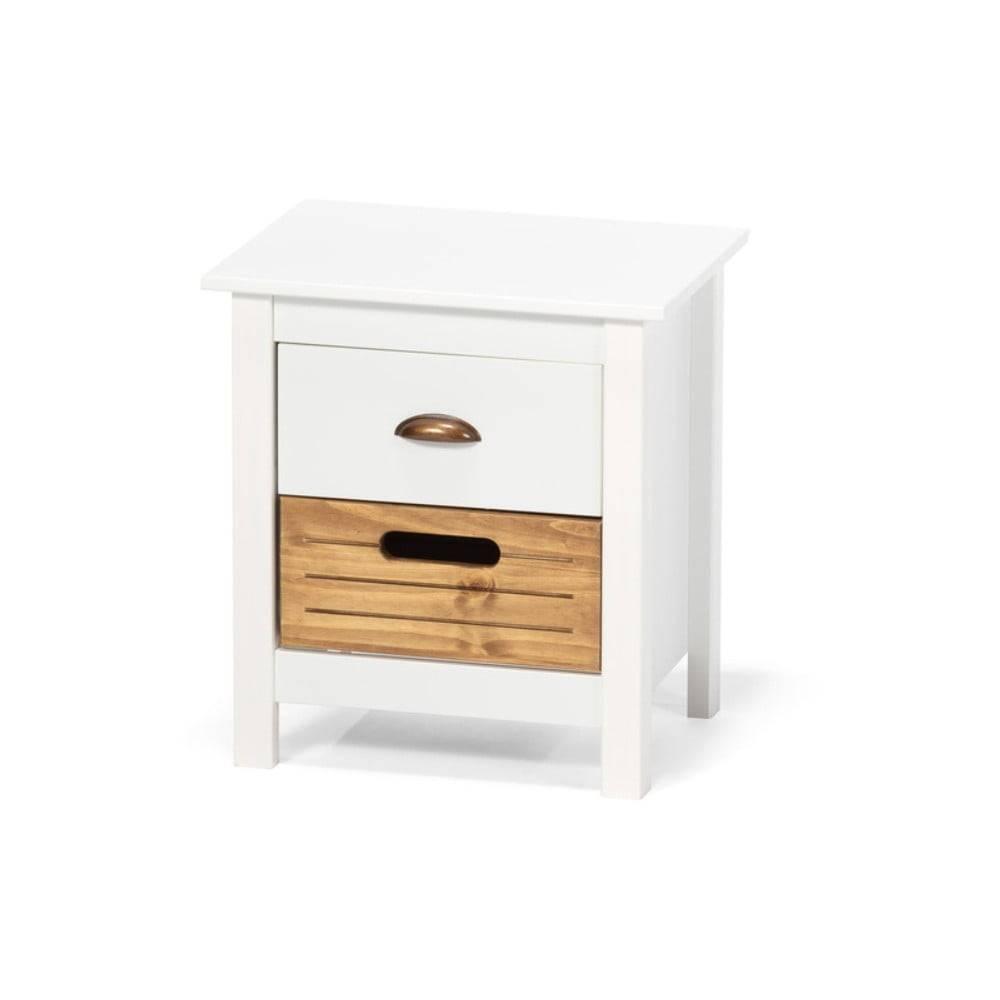 loomi.design Biely nočný stolík z borovicového dreva s 2 zásuvkami loomi.design Ibiza