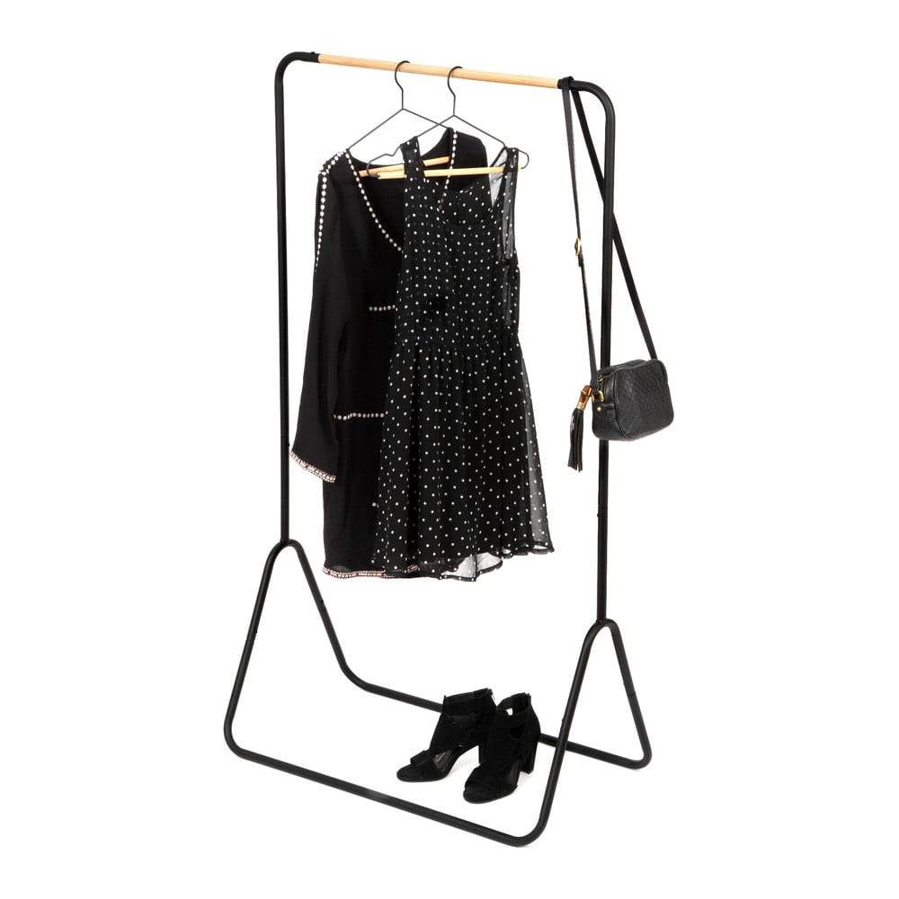 Compactor Čierny stojan na oblečenie Compactor Elias Clother Hanger, výška 145 cm