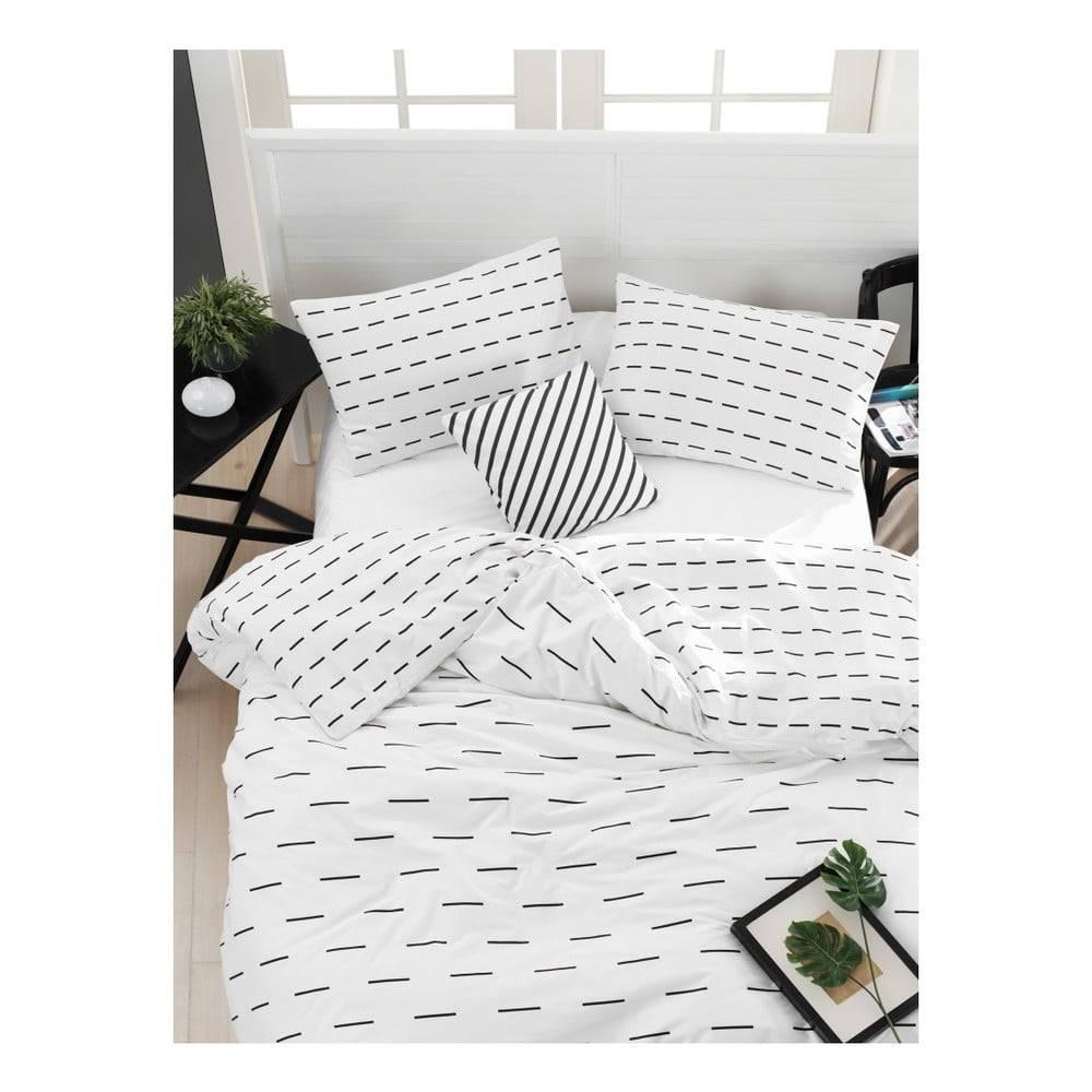 Mijolnir Obliečky s plachtou na dvojlôžko z ranforce bavlny Mijolnir Cubuk White, 200 × 220 cm