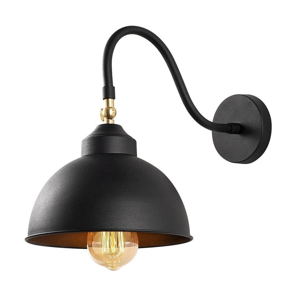 Opviq lights Čierne kovové nástenné svietidlo Opviq lights Fotini