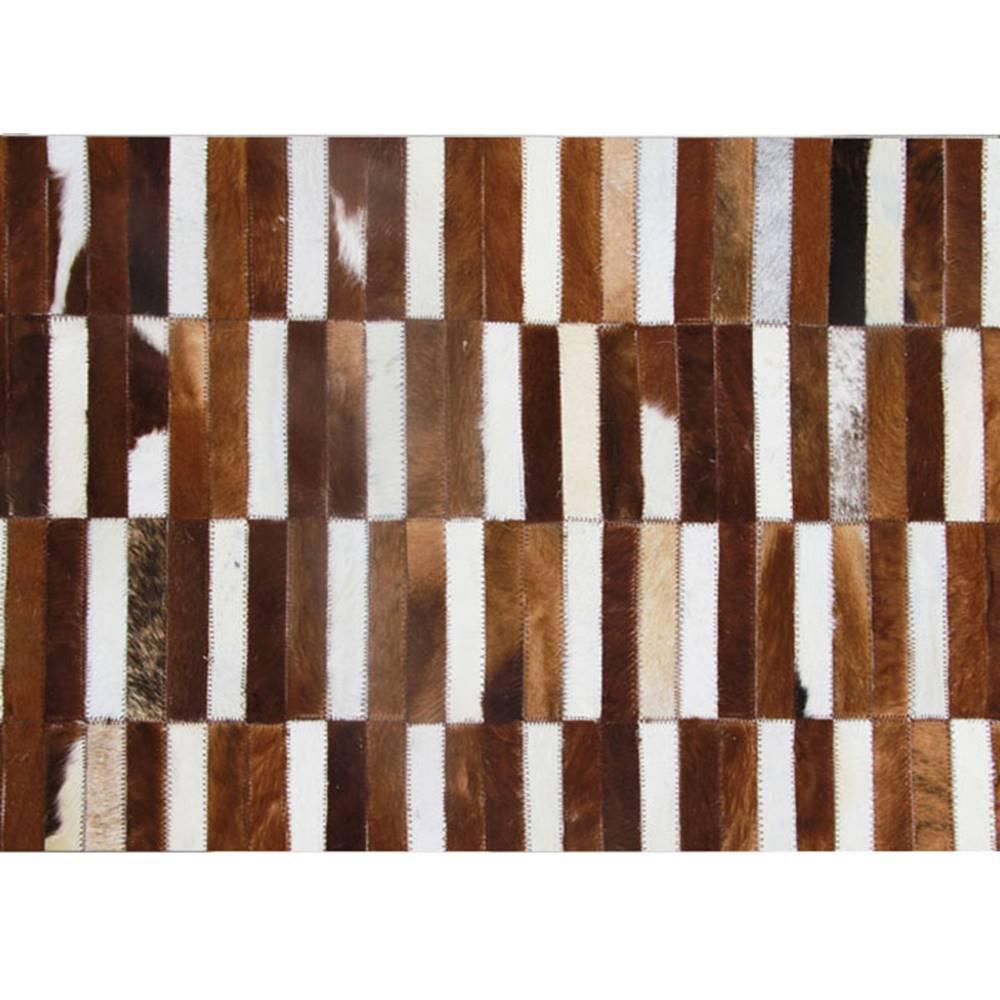 Tempo Kondela Luxusný kožený koberec hnedá/biela patchwork 141x200 KOŽA TYP 5