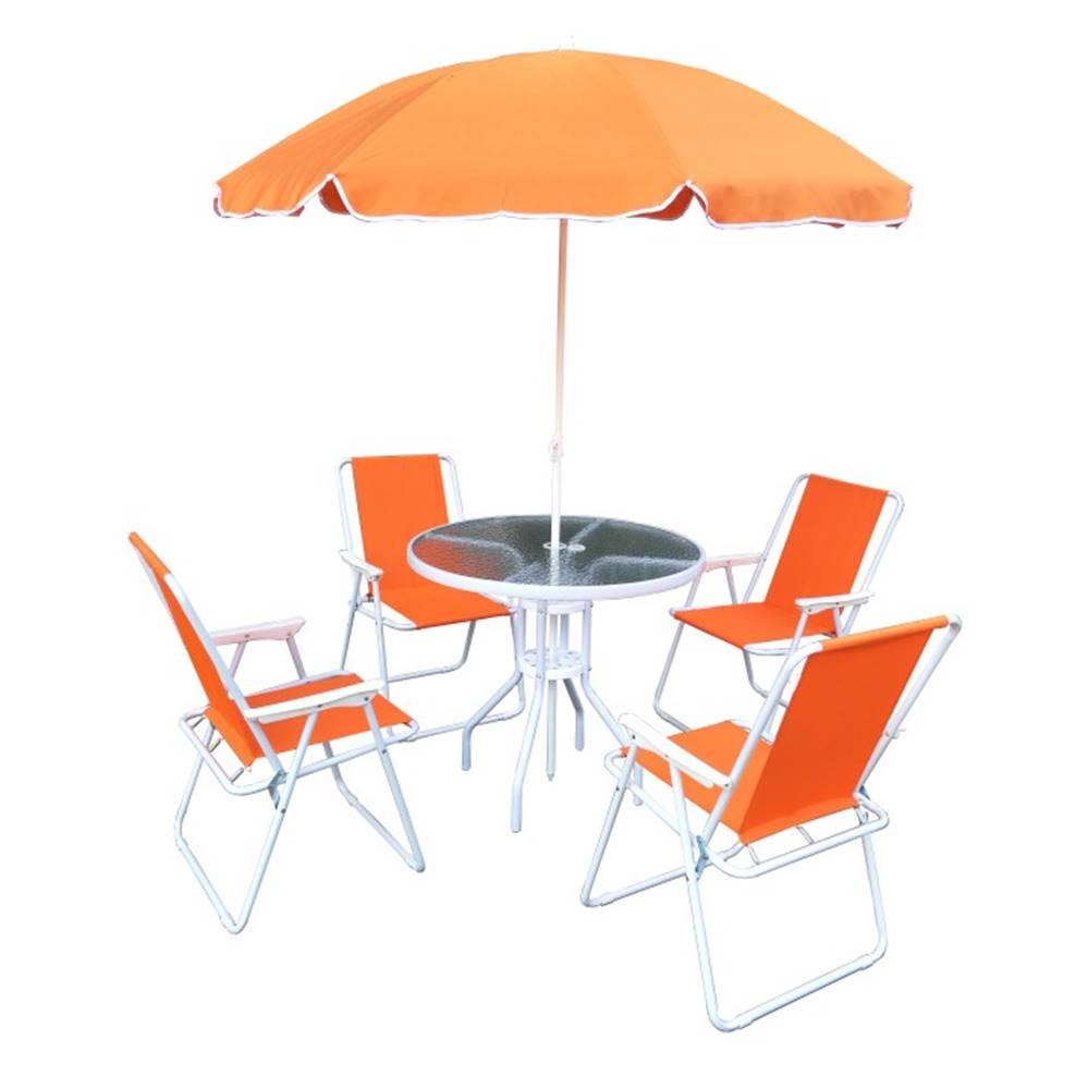 Tempo Kondela Záhradný set oranžová/biela ODELO