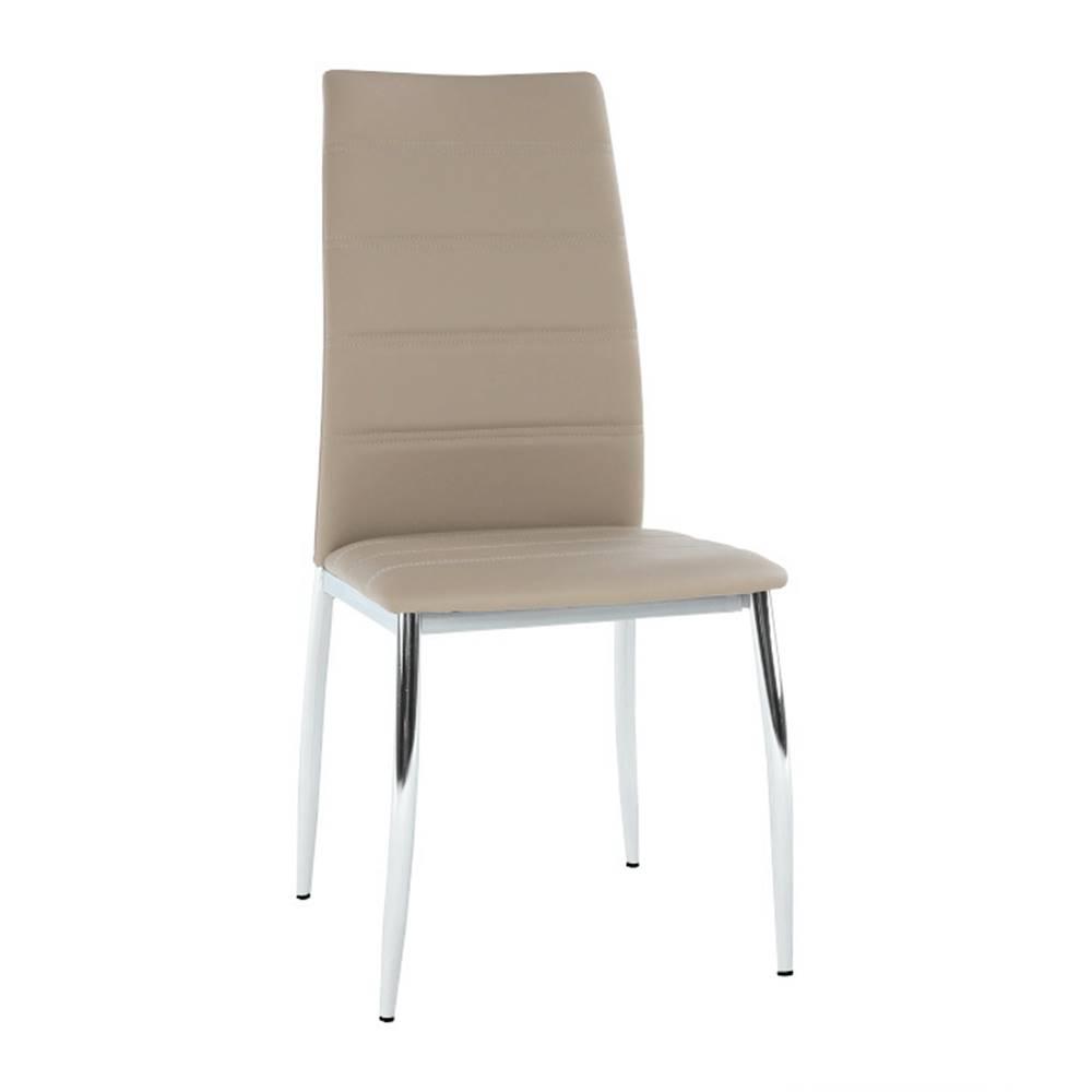 Tempo Kondela Jedálenská stolička ekokoža hnedá/chróm DELA