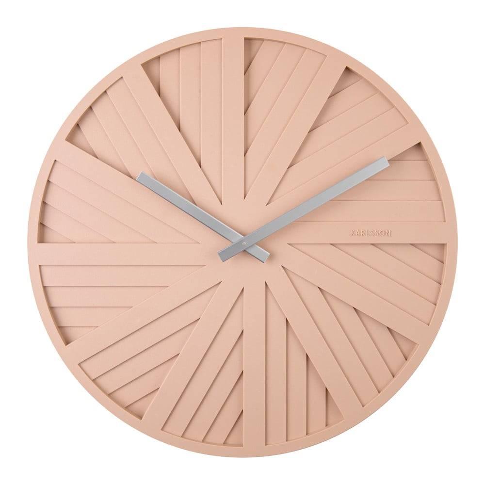 Karlsson Pieskovohnedé nástenné hodiny Karlsson Slides, ø 40 cm