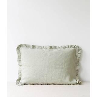 Svetlozelený ľanový vankúš s riaseným lemom Linen Tales, 50 x 60 cm