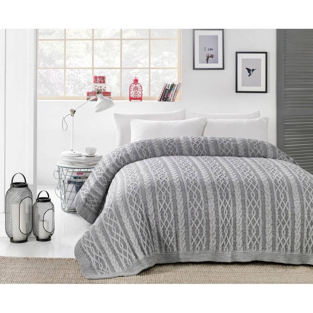 Homemania Sivá prikrývka cez posteľ Knit, 220 x 240 cm