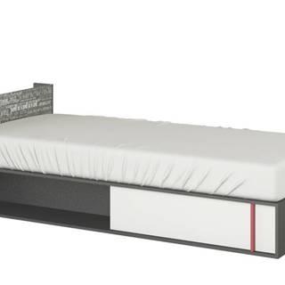 Posteľ s roštom a matracom PHILOSOPHY biela/grafit, ľavá, 90x200 cm