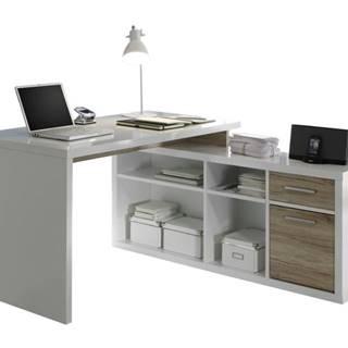 Rohový písací stôl TOKYO dub sanremo/biela