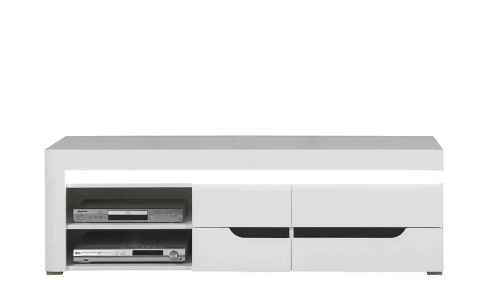 Sconto TV stolík IVONA biela vysoký lesk
